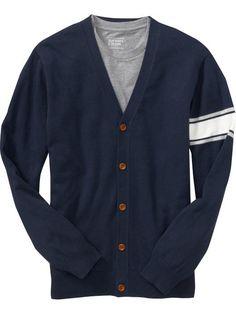 Men's Armband-Stripe Cardigan  $30.00