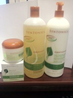 Syntonics Grothentic Combo for Anti-thinning Scalp Hair Care System by Sintonics. $82.89. ?Syntonics Grothentic Scalp Treatment Creme (For relaxed/natural) 4oz. ?Syntonics Grothentic Nutrient Conditioner 32oz. ?Syntonics Grothentic Vitalizing Shampoo (for relaxed/natural) 32oz. Syntonics Grothentic Combo     ?  Syntonics Grothentic Vitalizing Shampoo (for relaxed/natural) 32oz ?Sulfate-free formula gently cleanses the scalp and hair of excess oils and debris ?Fortified with B...