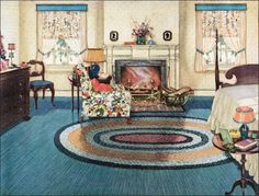 Brighter colors became popular during the second half of the though the Colonial style continued to prevail, especially among the traditional middle-class. This bedroom uses the ever-popular yellow and blue color scheme with mahogany furniture. Living Vintage, Vintage Room, Bedroom Vintage, Mode Vintage, Vintage Home Decor, Vintage Houses, Vintage Kids, Blue Yellow Bedrooms, 1920s Bedroom