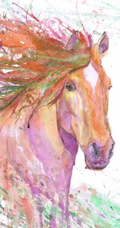 Horse Painting Equine Art Watercolor Print Equestrian Gifts Abstract Horse, Equine Expressions Horse lover Decor Horse Wall art Drawing Red  high quality fine art print of my original watercolor painting. It is the work of a watercolor series Portraits of the Heart   Size paper: 21 cm x 29,7 cm, 8 1/4 x 11.5/8, A4.(with white borders) - 18.00 $  fit in frames found in big shops 8x10(20cmx25cm) - leaving extra for matting - US  8x12(20cmx30cm) - leaving extra for matting - EU   29,7c...