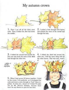 Good explanation (more descriptive) leaf crowns for Mabon Nature Crafts, Fall Crafts, Diy And Crafts, Crafts For Kids, Arts And Crafts, Diy Flower Crown, Leaf Crown, Forest School, Wedding Headband