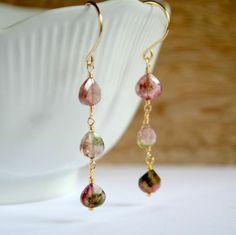 Watermelon tourmaline earrings   Kahili Creations Handmade Jewelry from Hawaii