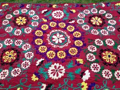 """""""Red and Yellow Frangipani"""" - Honorooroo Lifestyle Wool Thread, Chain Stitch, Beautiful Hands, Folk Art, Embroidery, Boho, Lifestyle, Yellow, Red"""