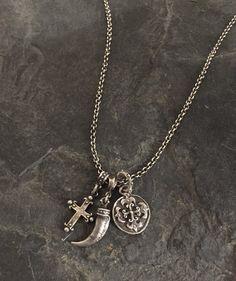 Necklace - Silver Triple Charm by Roman Paul #romanpaul