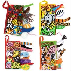 Toddler Infant Kid Jungly Tails Crinkle Fabric Cloth Book Development Toy 2016