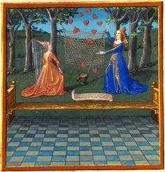 """""""L'Amante e la Maniera cortese tendono una rete per catturare i cuori volanti"""", miniatura tratta dal 'Livre du Coeur d'amourépris' (XV seco..."""