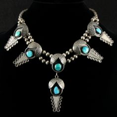 "Gorgeous 18"" Squash Blossom Necklace by G. Lucas"