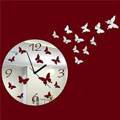 """19.75 """"H Estilo dinámico del espejo de la mariposa del reloj de pared – EUR € 12.89"""
