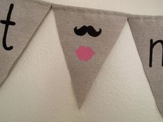Just Married Rustic Burlap & Canvas Wedding Bunting Banner with Mustache and Lips