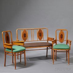Marcel Kammerer for Thonet Settee and Two Armchairs  Inlaid bentwood  Austria, c. 1909  Bentwood frame with oval inlaid back plaques, later upholstered seats, approx. ht. 38 1/2 to 39, settee wd. 47, chair wd. 23, dp. 20 1/2 in.
