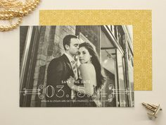 Posh   Art Deco Photo Save the Date, Formal Wedding Save the Date (set of 50)