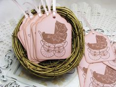Girl Baby Carriage Tags Baby Shower Favors by GoldenNestStudio