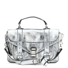 Proenza Schouler PS1 Tiny Metallic Leather Shoulder Bag (9.575 HRK) ❤ liked on Polyvore featuring bags, handbags, shoulder bags, silver, white handbags, shoulder handbags, leather purse, white purse and leather shoulder handbags