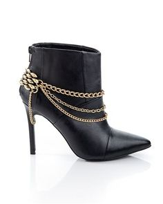 Gold chain stiletto booties
