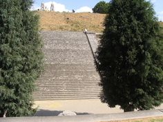 The Great Pyramid of Cholula in Mexico:   An Aztec temple, the largest man-made pyramid in the world, sits buried in earth with a Spanish church set on top.