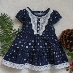 Blue Cotton and Lace Dress for 18 inch dolls such as American