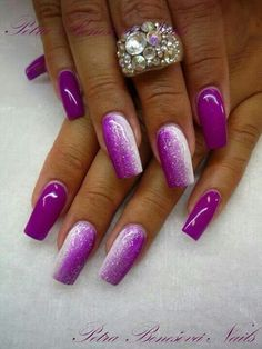 64 Trendy Purple Nail Art Designs and Ideas You Have to Try Purple Ombre Nails, Purple Nail Art, Purple Nail Designs, Acrylic Nail Designs, Pink Nails, Glitter Nails, Nail Art Designs, Nails Design, Purple Sparkle