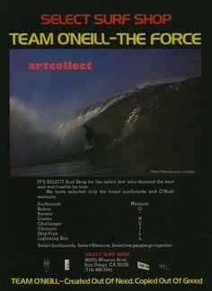 Vintage Surfing Ad (1977): Select Surf Shop. Encinitas Surfboards. O'Neill.