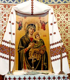 "One of the most popular icons found in Ukrainian churches and homes falls into the Eleusa category. It is known by several names, including the ""Virgin of Passion"", the ""Virgin of Perpetual Help"" or Pammakaristos in Greek."