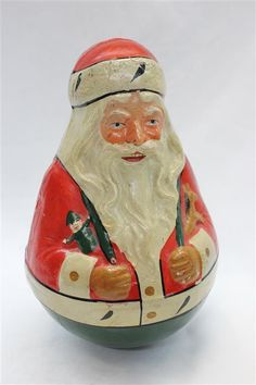 Antique German Paper Mache Roly Poly Santa Claus with Elves Horse Tumbler RARE | eBay
