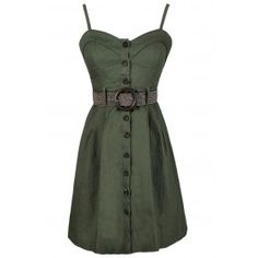 Button Down Delight Belted Dress in Olive Green Not as big a fan of the dress as I am of the belt lol Summer Dress Outfits, Cute Summer Dresses, Winter Fashion Outfits, Fall Dresses, Fashion Dresses, Pretty Dresses, Skirt Outfits, Spring Outfits, Beautiful Dresses