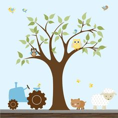 Children Wall Decal Farm  Nursery Vinyl Wall Stickers Flowers Lamb Animals Tree-e171