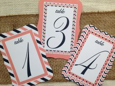 Wedding Table Number Cards - Set of 10 - Coral and Navy