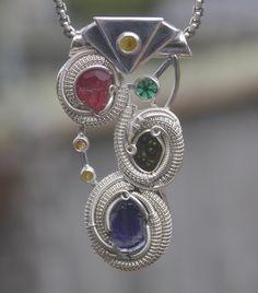 handmade gemstone pendant pezzottaite tanzanite agate emerald yellow diamond