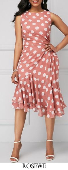 Polka Dot Print Ruffle Hem Sleeveless Sheath Dress.#Rosewe#dress#womensfashion