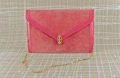 Pinke Velours Vintage Tasche 1970er Jahre von Stilzitat auf DaWanda.com