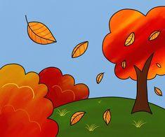 Peisaj de toamna - cum se deseneaza, #desen pas cu pas #learntodraw #drawing Pikachu, Lily, Halloween, Paintings, Fictional Characters, Education, Design, Activities, Preschool Printables
