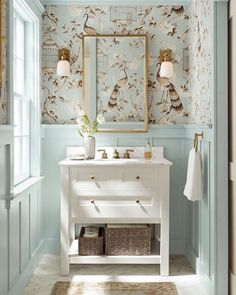 Pottery Barn cool blue and white bathroom - best pale blue paint colors