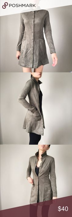 """Fall in love with Suede. Suede dress outerwear Fall in love with suede this season. A must have for all fashionista. 2 in one olive suede dress and wear it as an outerwear. Button down. 90% polyblend 10%spandex top quality material and construction apparel. Size S: L:34"""",B:32"""",w:28"""". Size M: L-34"""",B:33"""",W:29"""".Size L:L:35"""",B:33"""",W:30"""".free people, music festival, party, stylish CHICBOMB Dresses Mini"""