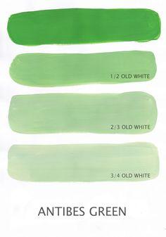 Chalk Paint Antibes Green   Antibes Green blandet med Old White