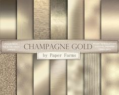 Ad: Champagne gold textures by Paper Farms on A collection of champagne gold textures including metallic, flake, foil, vintage, and brushed metal. Includes fourteen 12 x 12 inch jpegs Geometric Patterns, Azul Vintage, Planners, Champagne Gold Color, Art Deco, Glitter Background, Metallic Colors, Pantone Metallic Gold, Gold Texture