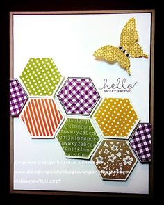 "Stamping with Julie Gearinger: Six Sided Sampler- CAS Hello Sweet Friend; Stampin' Up! Card - option #2 Six Sided Sampler along with Papillon Potpourri for the FabFri71 Color, ATS159 CAS and  F4A287 ""Odd Time of  Year"" Challenges :-)"