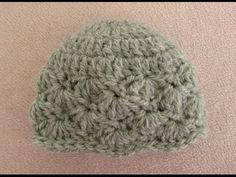 VERY EASY pretty crochet baby hat - shell stitch baby hat tutorial - YouTube