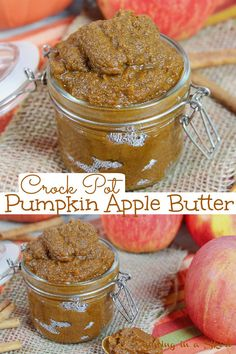 Pumpkin Apple Butter Recipe - Crock Pot or Slow Cooker. A healthy Pumpkin Butter made in the crockpot that's super easy from scratch - no peel, canned pumpkin and uses coconut sugar. Great for biscuits or toast or canning. An easy fall recipe! / Running in a Skirt #pumpkinrecipe #healthyrecipes #applerecipes #crockpot #slowcooker