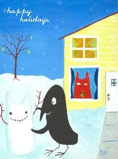 Cat n Crow Holiday Art Card - Bird Makes Snowman Folk Art Card - Christmas Winter Snow