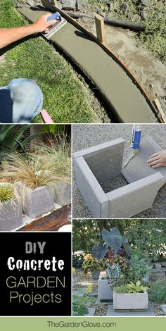 17 Awesome DIY Concrete Garden Projects Want to try some concrete in the garden? These DIY concrete planters, benches, fire pits and even concrete edging projects can change your garden!