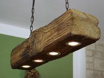 Ceiling lamp made of old wooden beams incl. LEDs - Decor With Wood Farmhouse Lamps, Rustic Lamps, Wood Lamps, Cabin Lighting, Rustic Lighting, Ceiling Lamp, Ceiling Lights, Wooden Beams Ceiling, Wood Chandelier