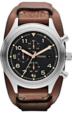Capri Jewelers Arizona  ~ www.caprijewelersaz.com Fossil Watches, Men's Compass Chronograph Leather Watch - Brown #JR1432