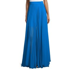 Milly Flowy Silk Maxi Skirt W/ Front Slit ($685) ❤ liked on Polyvore featuring skirts, blue, long white maxi skirt, long pleated skirt, white skirt, pleated skirt and accordion pleated skirt