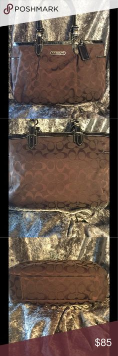 JUST LISTED!!!' Gorgeous chocolate brown bag with black patent leather trim. The color is very rich. The bag is in excellent shape. The only issue I could find are a few whitish spots in the lining, they are faint , tried to show them in the picture.  The lining is a beautiful lavender. Coach Bags Satchels