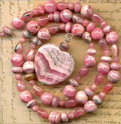 "RHODOCHROSITE Beads~Heart Pendant,Rounds,Rondells Argentina 17"" str. Genuine"