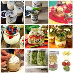 """Food in a jar…..it might be my favorite new thing ever! The portions are perfect and the jars are so cute and many you can freeze and make ahead of time. Here are 11 """"food in a jar"""" ideas ranging from layered salads to freeze-ahead pies and pastries. I'm going to need more mason jars!"""