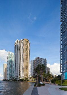 Along the Miami Riverwalk  Brickell Key and Icon Brickell (Miami, Florida)