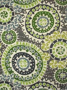 "Kenzo Hemlock.  Cotton fabric up the roll contemporary suzani print. Multi purpose. 54"" wide."