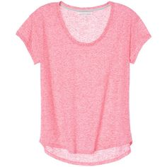 Victoria's Secret Scoopneck Tee ($30) ❤ liked on Polyvore featuring tops, t-shirts, shirts, pink t shirt, loose fitting t shirts, tee-shirt, scoop neck shirt and pink tee