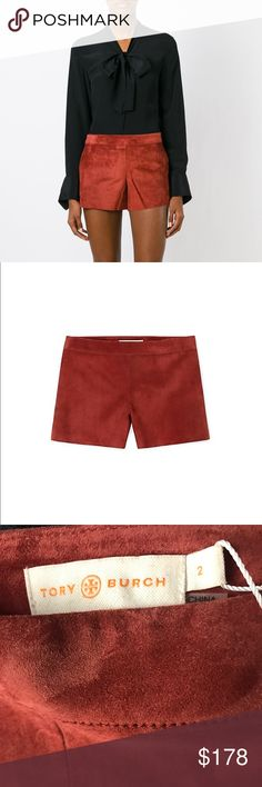 Tory Burch Short Suede Shorts Brick Color Sz 2 New w/ tags. Sz 2. $395 retail.Suede.Straight fit. Zipper with hook-and-eye closure at side seam. As seen at our fashion show, the Suede Short is a super-soft design that's equally stylish worn with prints or solids. The pair has a classic straight fit, a mid-thigh hem and smooth twill lining with a hint of stretch. It's done in one of Tory's favorite colors — a deep brick red — 🎉BUNDLE AND GET 10% OFF 🎉 Tory Burch Shorts
